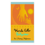 Babysitter Hands Yellow Orange Business Card Template