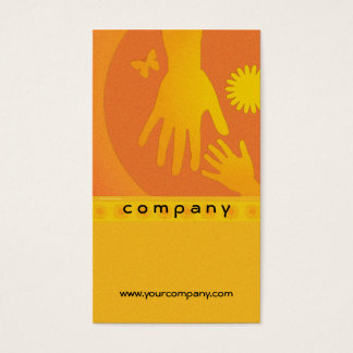 Babysitter Hands Yellow Orange Business Card