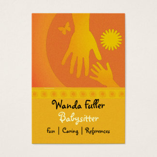 Babysitter Hands Yellow Orange Business Card