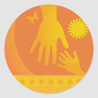 Babysitter Hands Yellow Orange Classic Round Sticker