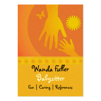 Babysitter Hands Yellow Orange Large Business Card