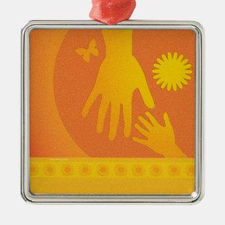 Babysitter Hands Yellow Orange Metal Ornament