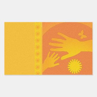 Babysitter Hands Yellow Orange Rectangular Sticker