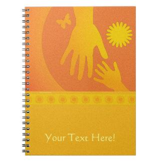 Babysitter Hands Yellow Orange Spiral Note Books
