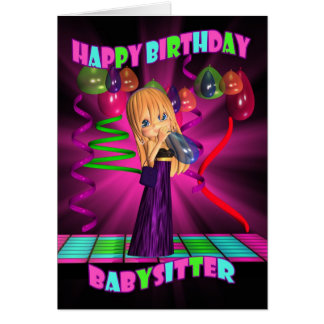Babysitter Happy Birthday with Cute little Cutie P Greeting Card
