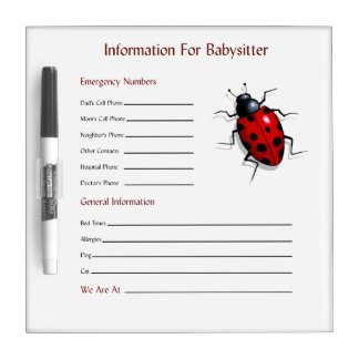 Babysitter Information, Contact Numbers, Ladybug Dry Erase Board