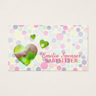 Babysitting business cards templates zazzle babysitter nanny bubbles hearts business card colourmoves