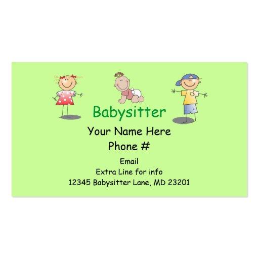 Babysitter Nanny Cartoon Stick Kids Boy Girl Baby Business Card Templates