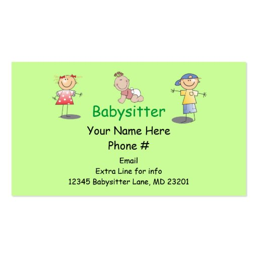Pin Babysitting Business Cards Templates Ajilbabcom Portal on ...