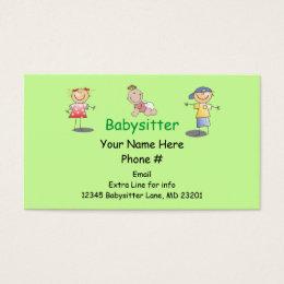 Babysitter Nanny Cartoon Stick Kids Boy Girl Baby Business Card