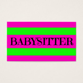Babysitter Neon Green and Hot Pink Business Card