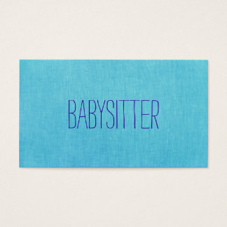 Babysitter or Nanny, Cute, Turquoise, Blue Business Card