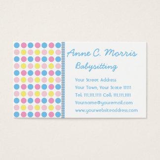 Babysitter Pastel Polka Dots Business Card