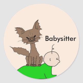 Babysitter - Pepper the Cat (Meet the Mews) Round Stickers