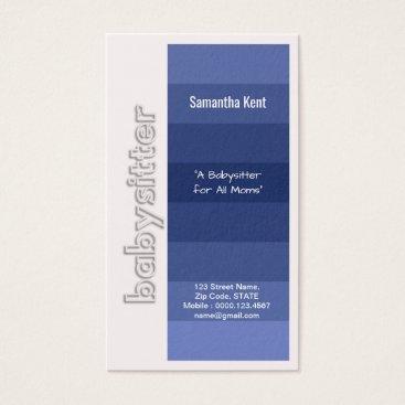 Babysitter Stylish Shades of Blue Business Card