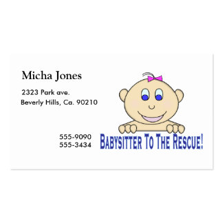 Babysitter To The Rescue Business Card Template