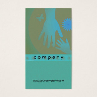 Babysitter Turquoise and Tan Hands Business Card
