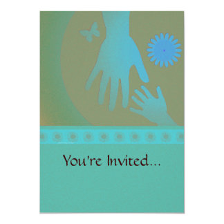 Babysitter Turquoise Tan Hands Card