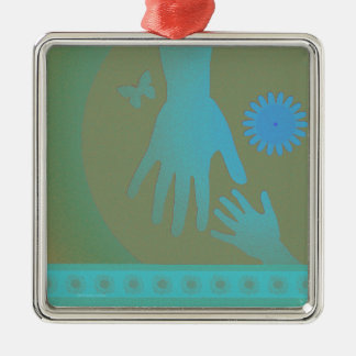 Babysitter Turquoise Tan Hands Square Metal Christmas Ornament