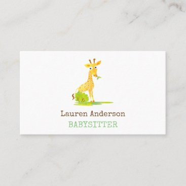Babysitter Watercolor Giraffe Childcare Provider Business Card