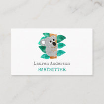 Babysitter Watercolor Koala Childcare Provider Business Card