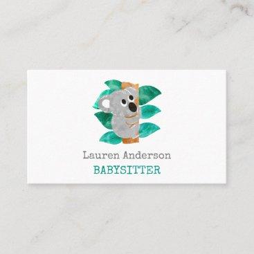 Babysitter Watercolor Koala Childcare Provider Business Card