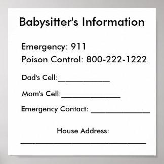 Babysitter's Information Print