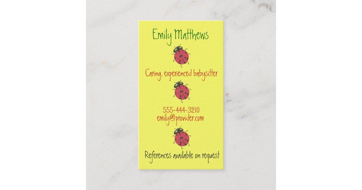 Babysitting business cards - little ladybugs | Zazzle.com