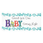 Babysitting coupon personalized rack card