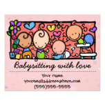 "Babysitting day care child care promo glossy 4x5 4.5"" x 5.6"" flyer"