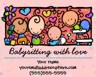 babysitting day care child care promo glossy 4x5 flyer