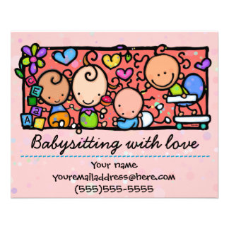 Babysitting day care child care promo glossy 4x5 personalized flyer
