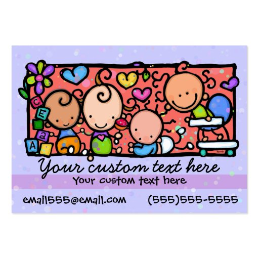 Babysitting Day care. Child care.Purple. Business Cards