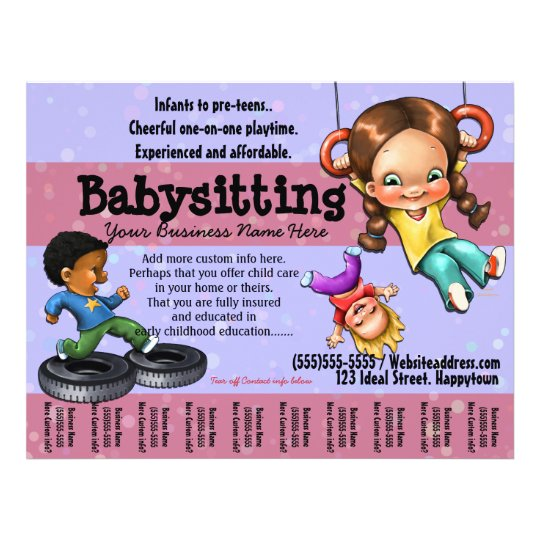 babysitting  day care customizable template flyer
