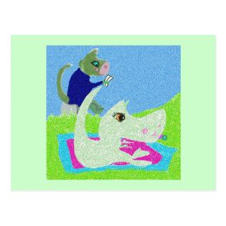 Babysitting Dino Postcard