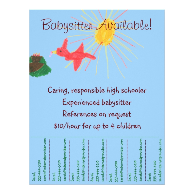 Assez Babysitting Flyer - Sunshine Scene | Zazzle.com MQ06
