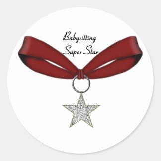 Babysitting Super Star Classic Round Sticker