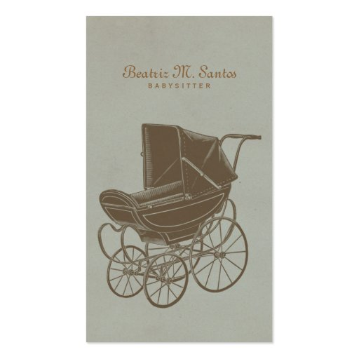 Babysitting Vintage Baby Carriage Simple Modern Business Card Template