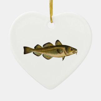 Bacalao atlántico adorno navideño de cerámica en forma de corazón