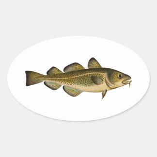 Bacalao atlántico pegatina ovalada
