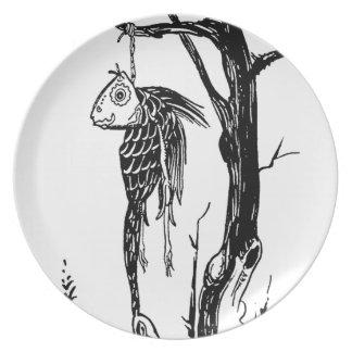 Bacalao, colgando en una rama plato de cena