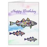 Bacalao del feliz cumpleaños tarjetón