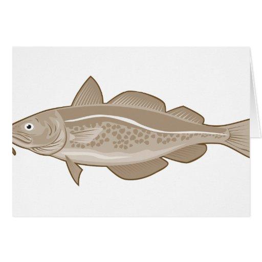 Bacalaos atlánticos retros tarjeta de felicitación