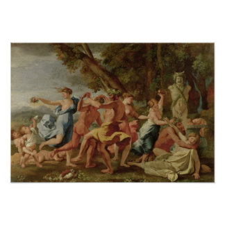 Bacchanal before a Herm, c.1634 Poster