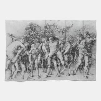 Bacchanal with Silenus by Albrecht Durer Black Hand Towel