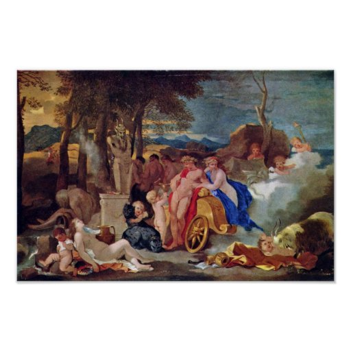 Bacchus And Ceres With Nymphs And Satyrs By Bourdo Poster