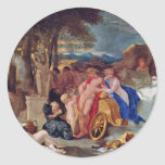 Bacchus And Ceres With Nymphs And Satyrs By Bourdo Round Sticker
