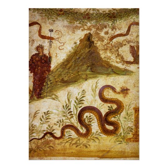 Bacchus and Serpent Agathodaimon in Pompeii Poster