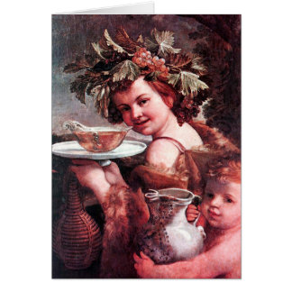 BACCHUS ,GRAPES AND ROSE WINE PARCHMENT Birthday Card