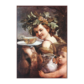 BACCHUS, GRAPES AND WHITE WINE CANVAS PRINT